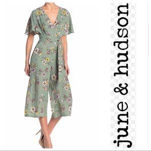 June & Hudson Green Floral Wide Leg Jumpsuit